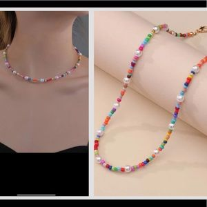 Gold beaded colorful necklace         layer
